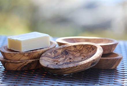 Olive Wood Soap Dish Scooped Oval
