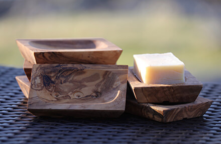 Olive Wood Soap Dish Rectangular Scooped