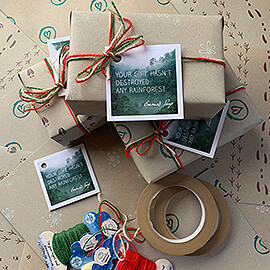 Completely compostable gift wrapping pack